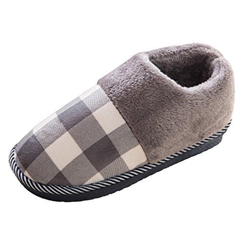 Eastlion Women's and Women's Indoor Winter Keep Warm Fleece Slippers House Slippers Dark Grey Shoes iMx6k