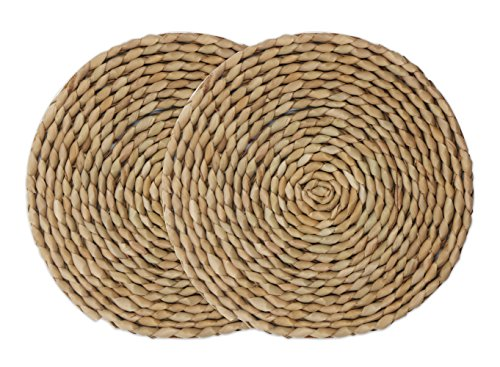 wellhouse Natural Cattail Placemats Round Woven Straw Placemats Rattan Placemats Handmade Dining Table Mats Insulation Pad No-Slip Pads (7.08Inch, -