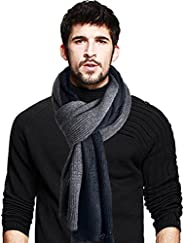 Men's Long Scarf Soft Warm Thick Knit Winter Scarves (Black&a