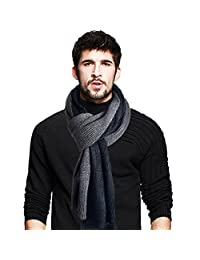 Men's Long Scarf Soft Warm Thick Knit Winter Scarves (Black&Grey)