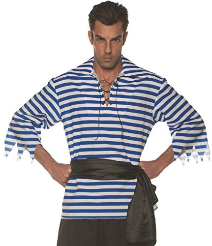 Underwraps Men's Classic Pirate Striped Shirt Costume-Blue/White, One Size