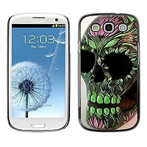 rígido protector delgado Shell Prima Delgada Casa Carcasa Funda Case Bandera Cover Armor para Samsung Galaxy S3 I9300 /Green Pink Skull Floral Spring Death/ STRONG
