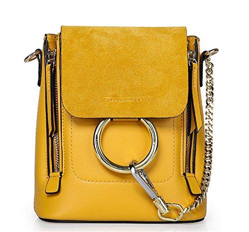 Cuero XinMaoYuan mochila pequeña mochila oblicua señoras paquete multiuso Cowhide Messenger hombro redondo Bg,Gris claro Amarillo
