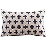 "CoolDream Cotton Linen Decorative Pillowcase Throw Pillow Cushion Cover Cross Pattern Rectangle 12"" * 20"""