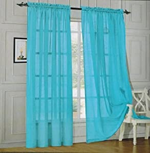 Hlc Me Bright Turquoise 2 Pack 108 Inch X 84 Inch Window Curtain Sheer Panels
