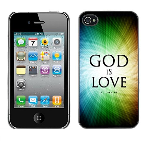 DREAMCASE Citation de Bible Coque de Protection Image Rigide Etui solide Housse T¨¦l¨¦phone Case Pour APPLE IPHONE 4 / 4S - GOD IS LOVE - JOHN 4:16