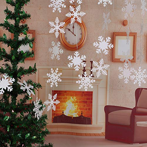 LeeSky Christmas Party Decorations,27Pcs Glittery White Snowflake Winter Wonderland Hanging Garland Flags -Christmas Home Decor Holiday New Years Party Decorations -
