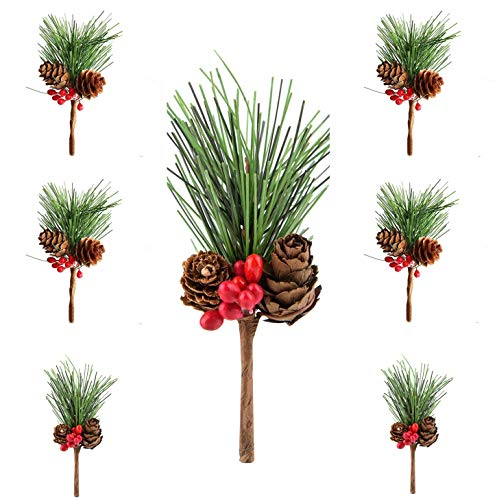 M-ELEGANT 12pcs Artificial Pine Picks Small Fake Berries Pinecones for Wedding Garden Christmas Tree Filler Decorations