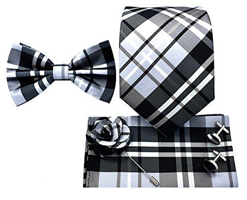 5pc Necktie Gift Box Set,Necktie, Bow-Tie, Lapel Pin, Cufflinks & Handkerchief