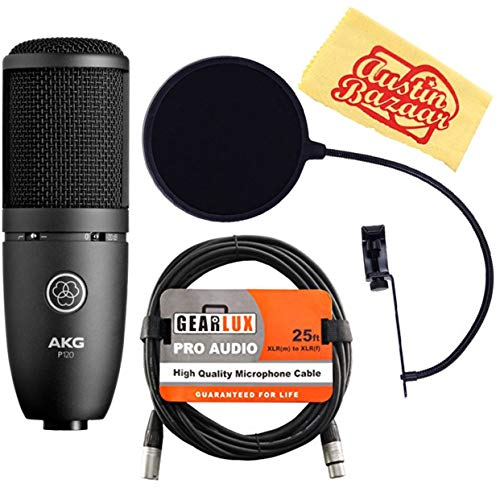 AKG P120 High-Performance General Purpose Recording Microphone Bundle with Pop Filter, XLR Cable and Austin Bazaar Polishing Cloth
