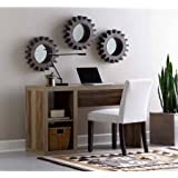 Better Homes and Gardens Cube Organizer Home Office Desk Made of Medium-Density Fibreboard Wood with Built-in Cable Door on Desktop (Weathered)