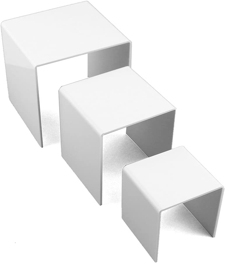 Ifavor123 White Set of 3 Acrylic Display Stand Risers 3