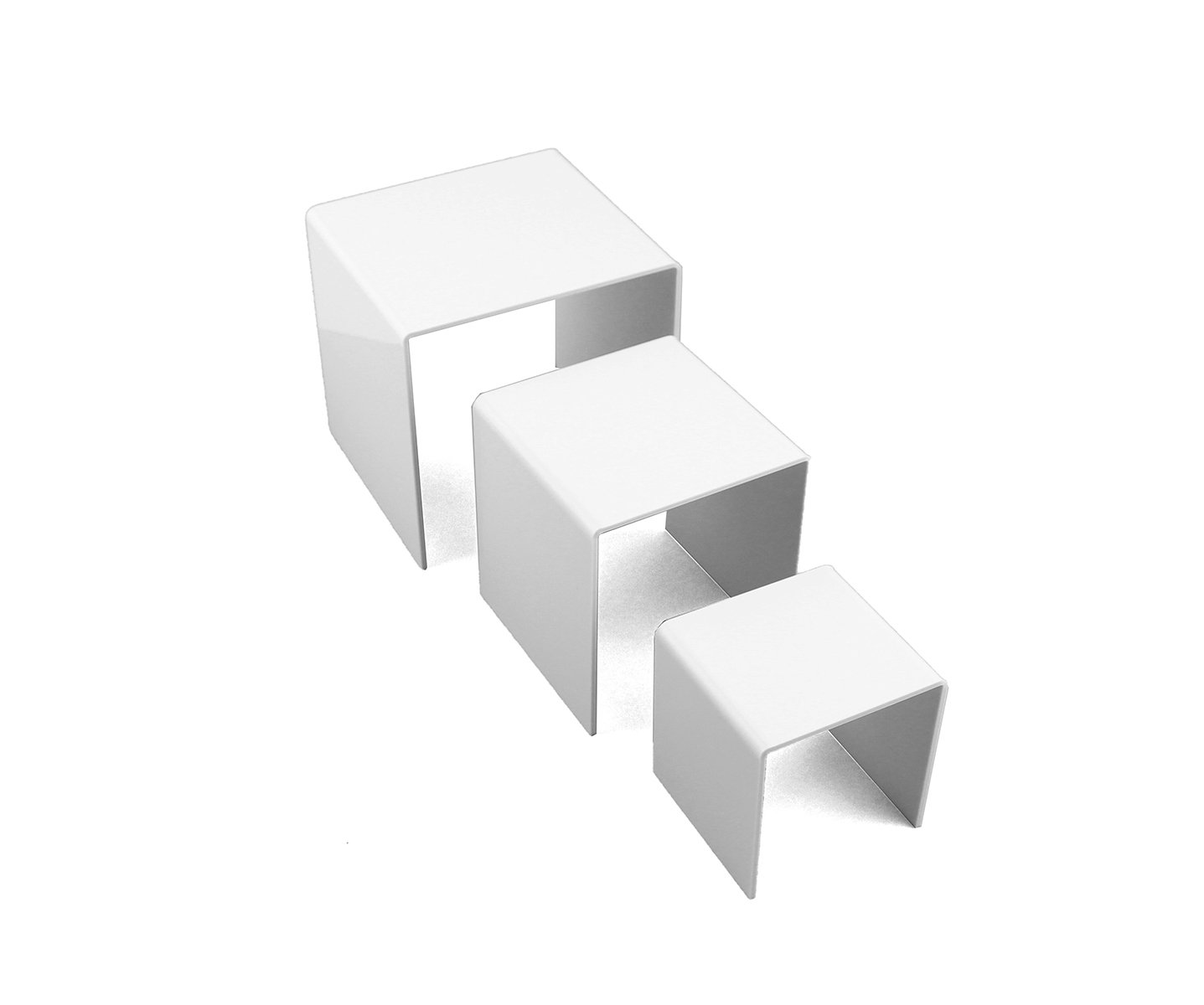 Tytroy Set of 3 White Acrylic Showcase Display Risers Nesting Display Stands