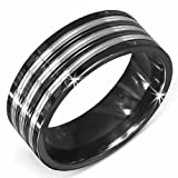 Urban Male Stainless Steel Triple Striped Spinning Two Tone Ring