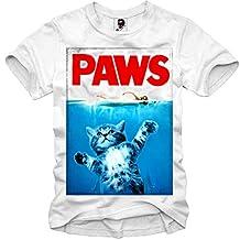 E1SYNDICATE T-SHIRT JAWS PAWS SHARK Der weiße Hai GEEK BLOGGER CAT KITTEN S/M/L/XL