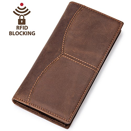 Itslife Men RFID Blocking Vintage Look Genuine Leather Brown Long Bifold Wallet (RFID BLOCKING Coffee)