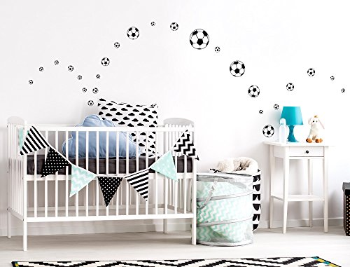 I-love-Wandtattoo WAS-10133 Wall stickers Kids Soccer balls Sticker Wall Decal Boy Girl 25 piece -