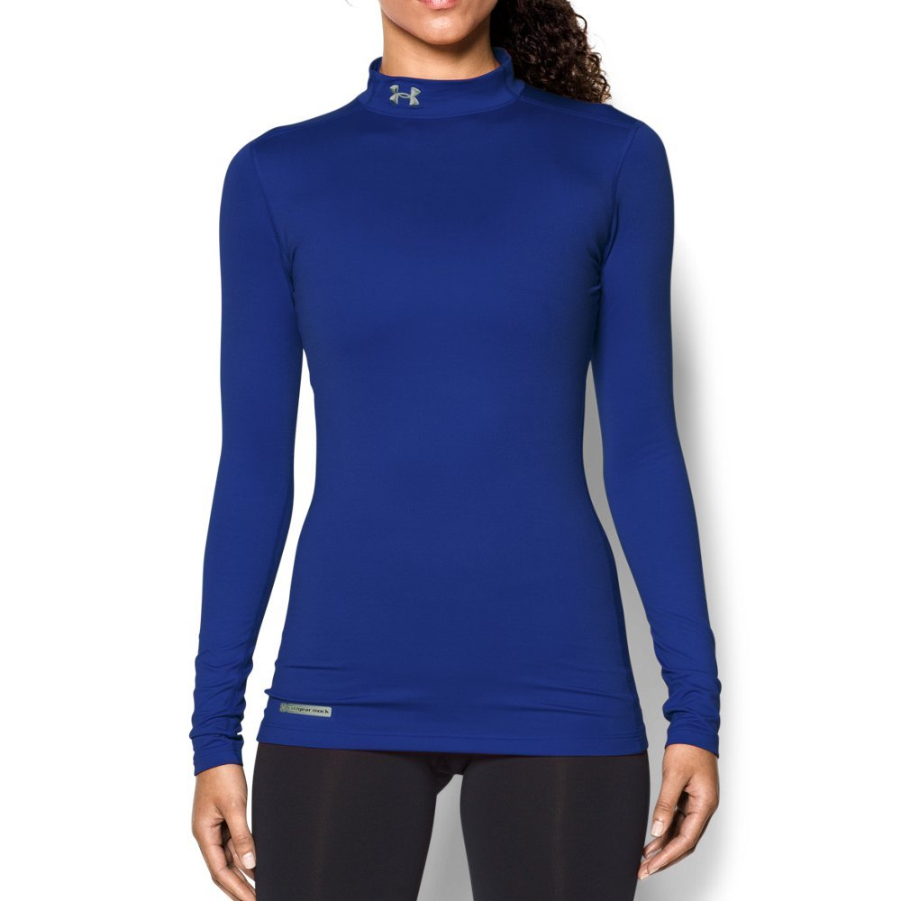 Under Armour Women's ColdGear Authentic Mock, Royal (400)/Metal, X-Small