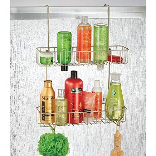 mDesign Wide Shower Hanging Storage Organizer Built-in Baskets on Levels Shampoo, Loofahs -