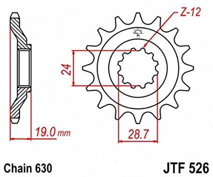 JT Sprockets JTF526.15 15T Steel Front Sprocket