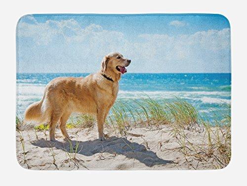 Lunarable Dog Lover Bath Mat, Golden Retriever on a Sandy Dune Overlooking Tropical Beach Ocean Outside Sky, Plush Bathroom Decor Mat with Non Slip Backing, 29.5 W X 17.5 L Inches, Green Camel