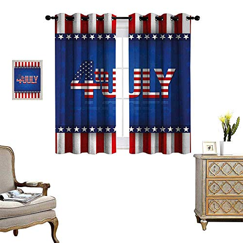 (Anyangeight 4th of July Patterned Drape for Glass Door Independence Themed Holiday Design with United States of America Flag Pattern Waterproof Window Curtain W72 x L72 Multicolor )