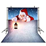 Allenjoy 5x7ft Christmas Kids Backdrops Santa Claus Holding a Lamp Snowing Christmas Backdrops for Photography Kids Photography Background Decoration Photo Studio Props