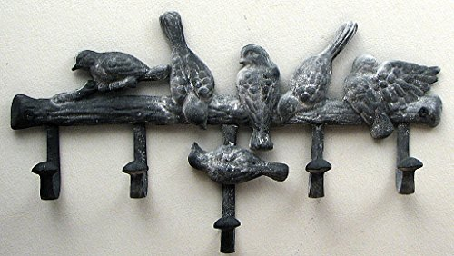 (Cast Iron Five Hook BIRD HAT COAT RACK Wall Mounted Hooks Gray Coat)