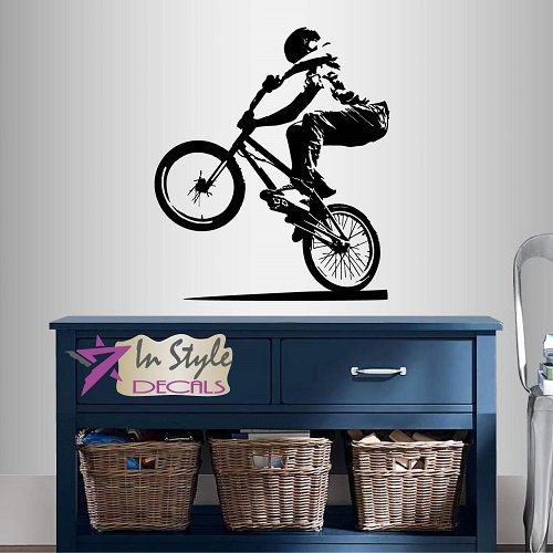 Wall Vinyl Decal Home Decor Art Sticker BMX Cyclist Jump Bicycle Extreme Sports Bike Rider Guy Boy Room Removable Stylish Mural Unique - Bmx Style