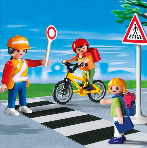 Playmobil School Crossing Guard Construction Set With Kids Top
