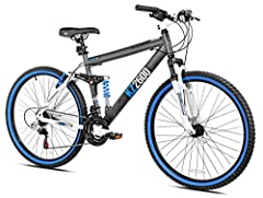 The Kent KZ2600 mountain bike features a full-suspension, strong 6061 aluminum frame that utilizes a floating beam suspension design that is mated to a suspension fork. The KZ2600 features 21 speed Shimano Shifters and rear derailleur. Stoppi...