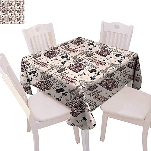cobeDecor Modern Patterned Tablecloth London United Kingdom Island Print with City Signs Bus Bridge Artwork Print Dust-Proof Tablecloth 54