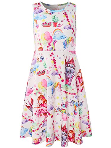 Bonny Billy Little Girls' Summer Castle Rainbow Printing Midi Dress for Children 5-6 White