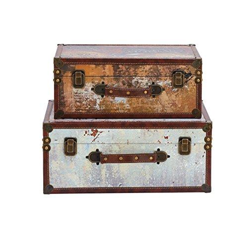 Benzara Antique Colonial Classy Wood Trunk Set of 2, Orange, White, Brown, Gold, Bronze from Benzara