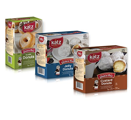 Katz Gluten Free Donut Variety Pack | 1 Vanilla, 1 Jelly, 1 Custard | Dairy, Nut, Soy and Gluten Free | Kosher (1 Pack of each)
