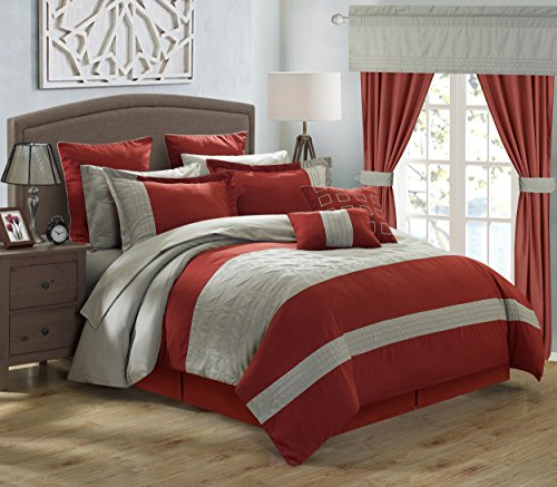 Chic Home 24 Piece Lorde Complete Embroidery Comforter Set, Queen, - 24 Piece Bed Ensemble Queen