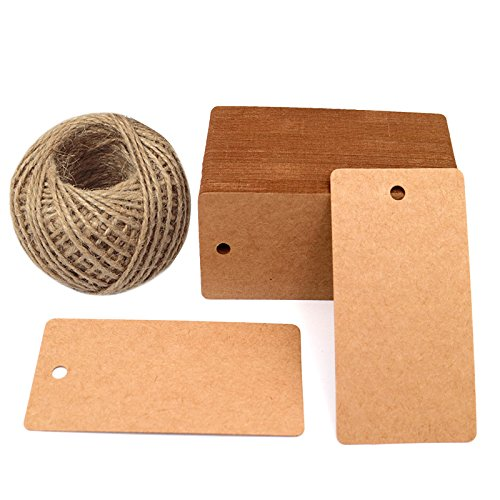 Father's Gift Tags, 3.5'' x 1.7'' Brown Gift Tags 100 PCS Kraft Paper Gift Tag with 100 Feet Jute Twine String for Arts and Crafts, Wedding Christmas Day -