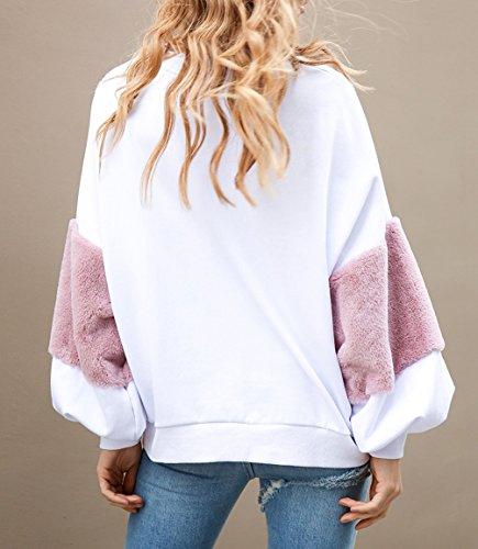 Jeunes Vintage Pulls Sweatshirt Femme Pull Blouses Sportswear Imprimé Capuche Oversize Chemises Jolis Manches Dame À Isshe Longues Top Col shirts Blanc Rond T 1aPwnCxAq
