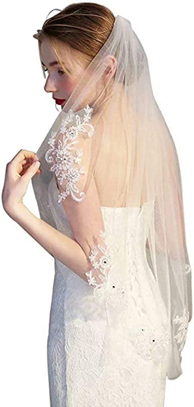 Panba Wedding Bridal Veil With Comb 1 Tier Lace Applique Beaded