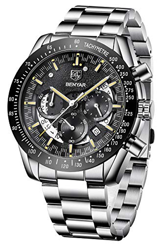 BENYAR Quartz Chronograph Men's Waterproof Watch, Fashion Classic Business Casual Stainless Steel Watch, Luxury Holiday Gift Watch