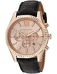 Michael Kors Men's Quartz Stainless Steel and Leather Automatic Watch, Color:Black (Model: MK8516)