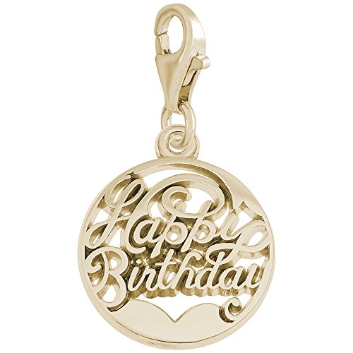 (14k Yellow Gold Happy Birthday Charm With Lobster Claw Clasp, Charms for Bracelets and Necklaces)