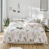 FADFAY Fashionable Floral Duvet Cover Set White and Pink Cotton Bedding Set Hypoallergenic Lightweight With Hidden Zipper Closure 3 Pieces, 1duvet Cover & 2pillowcases, Twin XL Size
