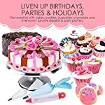 210 piece cake decorating supplies kit | aluminium rotating turntable stand, frosting & piping tips, icing spatula, scraper, smoother, flower nails, cutter, disposable pastry bags, pro baking tools 14 ✅ professional dessert decorating at home - create delectably artistic masterpieces that are stunning to behold and even better to eat! Practice & perfect your special baked creations right from home! ✅heavy duty aluminium alloy cake turnable provides an excellent stability on countertops. ✅ liven up birthdays, parties & holidays - be the go-to expert for making any party a hit! Get creative with cakes, cookies, cupcakes, chocolate and everyone's favorite desserts & party platters. ✅ 51 numbered tips – easy to use ✅ everything you need in one - beginners to seasoned pros: this all-in-one set has everything you need and more. Create floral motifs, swirling patterns, syringe infusions & taste-tantalizing textures!