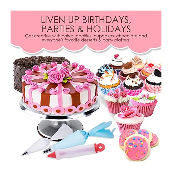 78 Piece Cake Decorating Supplies Kit | Aluminium Rotating Turntable Stand, Frosting & Piping Tips, Icing Spatula, Scraper, Smoother, Flower Nails, Cutter, Disposable Pastry Bags, Pro Baking Tools 5 ✅ PROFESSIONAL DESSERT DECORATING AT HOME - Create delectably artistic masterpieces that are stunning to behold and even better to eat! Practice & perfect your special baked creations right from home! ✅Heavy duty Aluminium alloy Cake Turnable provides an excellent stability on countertops. ✅ LIVEN UP BIRTHDAYS, PARTIES & HOLIDAYS - Be the go-to expert for making any party a hit! Get creative with cakes, cookies, cupcakes, chocolate and everyone's favorite desserts & party platters. ✅ 51 NUMBERED TIPS - EASY TO USE ✅ EVERYTHING YOU NEED IN ONE - Beginners to seasoned pros: this all-in-one set has everything you need and more. Create floral motifs, swirling patterns, syringe infusions & taste-tantalizing textures!