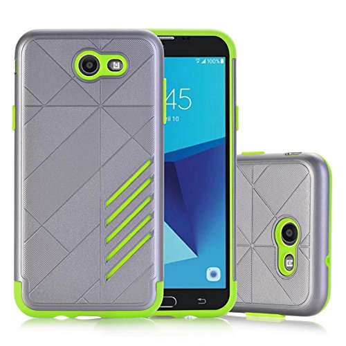 Price comparison product image For Samsung Galaxy Series,  MNtech NEW Fashion Rubber Impact Armor Protective Case BackCover Hybrid Protector (Green,  For Samsung Galaxy J7 (2017))