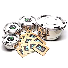 Bundle of 5 Items: Small, Medium, Large and Extra Large CVault Airtight Storage Containers with 12 Extra Boveda 8 Gram 62% Humidipak Regulators