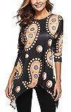 Womens Autumn Loose Fit Tunic Tops 3/4 Sleeve Flowy Irregular Dress Blouse T-Shirt Medium