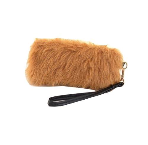 Tongshi Nueva mujeres calientes bolso bandolera peluche bolso bolso de mano cartera (caqui)