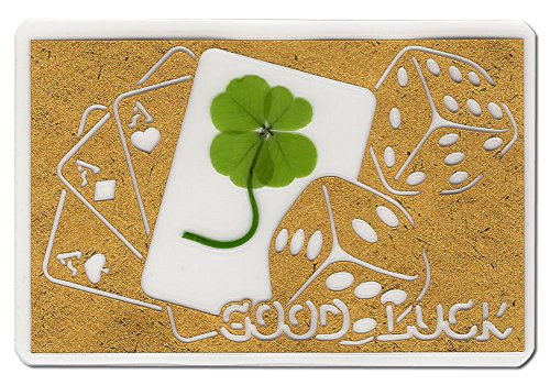 KIN-HEBI Real Four Leaf Clover, Preserved, Laminated Card, Gold Version, Cutting Picture